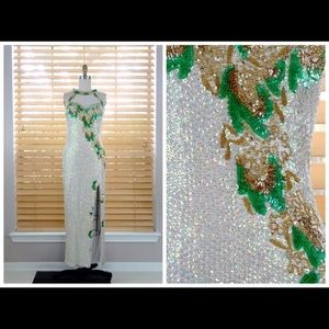 Vintage White Iridescent Sequin Embellished Gown